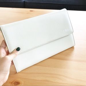 Red Envelope Leather Tri-Fold Travel Clutch